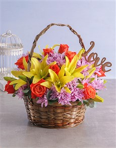 flowers: Cheerful Mixed Flowers in Basket!