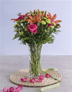 flowers: Royal Sunset Lily and Cerise Rose Arrangement!