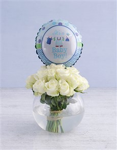 gifts: White Roses and Baby Boy Balloon!
