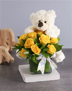 gifts: Yellow Roses and White Teddy!