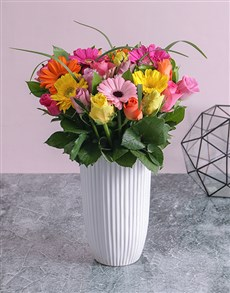 flowers: Mixed Rose and Gerbera Daisy Arrangement!