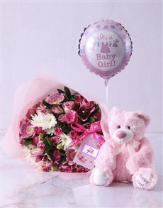flowers: Baby Girl Teddy Bouquet!
