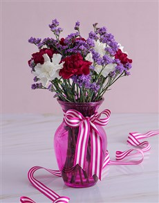 flowers: Purple and White Carnations in a Vase!