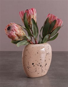 flowers: Proteas in Oval Moon Vase!