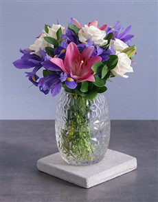 flowers: Irises and Roses in Diamond Vase!