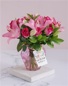 gifts: Cerise Floral Horns in a Vase!