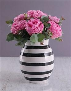 flowers: Pink Peonies in Striped Vase!
