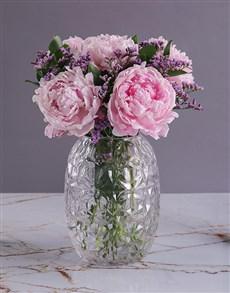 flowers: Pink Peonies in Diamond Vase!