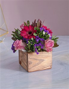 gifts: Lilac Florals in a Wooden Crate!