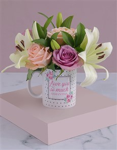 gifts: Personalised Love You Lilies and Roses Mug!