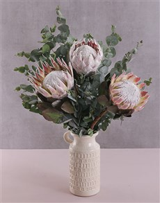 flowers: King Protea Trio in Ceramic Jug!