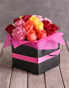 gifts: Mixed Roses In Pink Ribbon Box!
