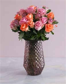 flowers: Mixed Roses In Purple Vase!