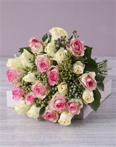 flowers: Pink and Cream Rose Bouquet in Hessian!