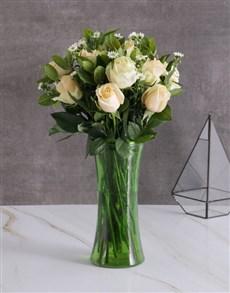 flowers: Enchanting Cream Roses In Green Vase!