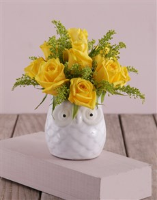 flowers: Yellow Roses in a Ceramic Owl!