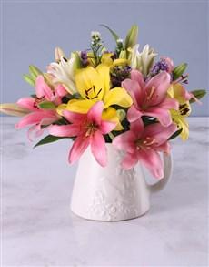 flowers: Pretty Lilies In Birdie Jug!