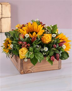 flowers: Sunflower and Rose Flower Wooden Box!