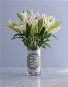 flowers: Personalised White Lilies in Gift Tag Photo Vase!