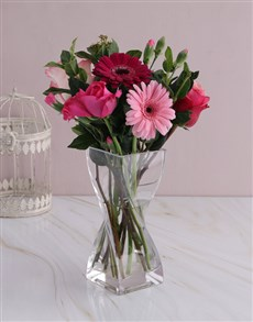 gifts: Pink Floral Mix in Twisted Vase!
