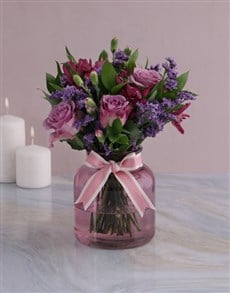 flowers: Lilac Floral Mix In Purple Vase!