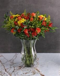 flowers: Harvest Mixed Flower Vase Arrangement!