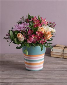 flowers: Pastel Mix In A Striped Pottery Vase!