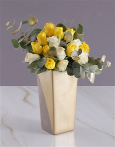 gifts: Sun and White Rose Arrangement!