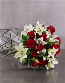 flowers: Red Rose and White Lily Bouquet!