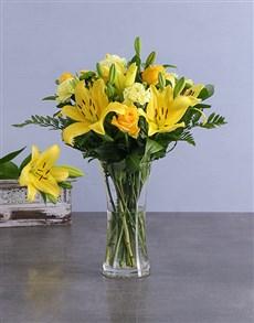 flowers: Mixed Yellow Arrangements!