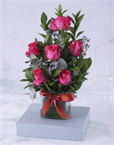 flowers: Artful Cerise Rose Arrangement!