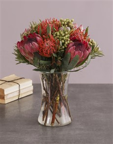 flowers: Protea Fantasia In A Glass Vase!