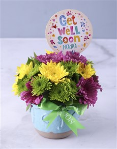 flowers: Personalised Get Well Soon Spray Pot!