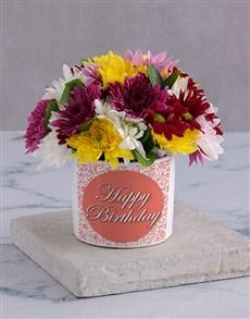 flowers: Happy Birthday Spray in White Vase!
