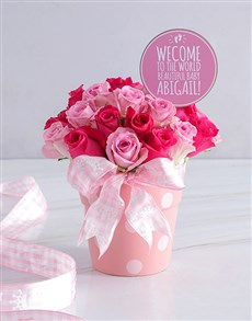 flowers: Personalised Baby Girl Pink Floral Pot!