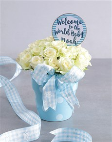 flowers: Personalised Baby Boy Blue Floral Pot!