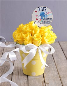 gifts: Personalised New Baby Yellow Floral Pot!