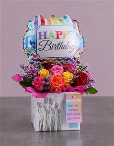 flowers: Personalised Birthday Arrangement In A Box!