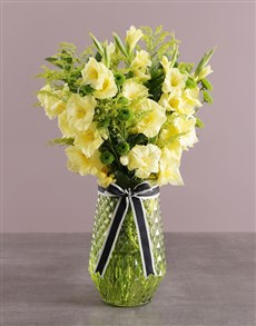 flowers: Yellow Gladiolus in Green Vase!