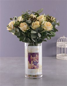 gifts: Personalised Sweet Cream Roses Photo Vase!