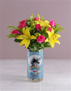 flowers: Personalised Birthday Vibes Blooms Photo Vase!