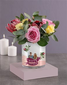 flowers: Personalised Birthday Roses Photo Vase!