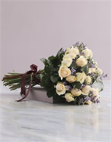 flowers: Cream Rose and Burgundy Ribbon Bouquet!