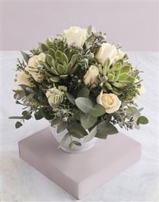 flowers: Cream Rose and Succulent Arrangement!