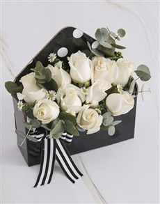flowers: Cream Roses in Black Envelope!