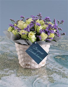 flowers: White Sympathy Roses In Basket!