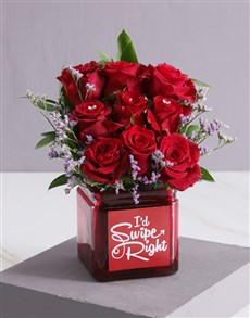 flowers: Red Blooms in Swipe Right Vase!