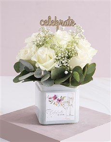 flowers: Graceful Celebration White Rose Blossoms!