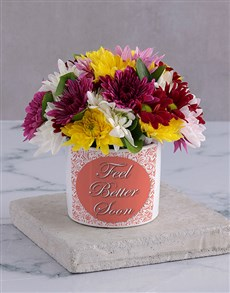 flowers: Feel Better Spray in White Vase!