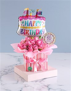 gifts: Personalised Pink Birthday Rose Arrangement!